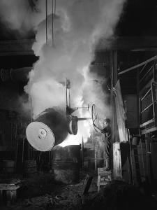 Teeming (Pouring) Molten Iron at Edgar Allens Steel Foundry, Sheffield, South Yorkshire, 1964 by Michael Walters