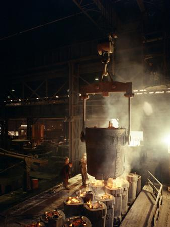 Teeming (Pouring) Molten Iron, Brown Bayley Steels, Sheffield, South Yorkshire, 1968 by Michael Walters