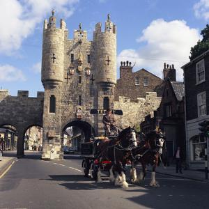 Tetley Shire Horses and Dray in Front of Micklegate Bar, York, North Yorkshire, 1969 by Michael Walters