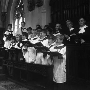The Choir from Brampton Parish Church Singing During a Service, Rotherham, 1969 by Michael Walters