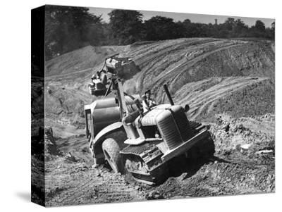 Tractor Unit Pulling an Earth Grading Machine at a Site Near Rotherham, South Yorkshire, 1954