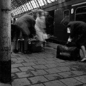 Travellers Boarding a Train to Rotterdam, Centraal Station, Amsterdam, Netherlands, 1963 by Michael Walters
