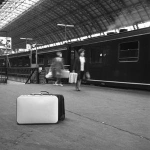 Travellers on a Platform, Centraal Station, Amsterdam, Netherlands, 1963 by Michael Walters