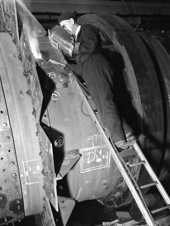Welding an Industrial Drying Unit, Edgar Allen Steel Co, Sheffield, South Yorkshire, 1962 by Michael Walters