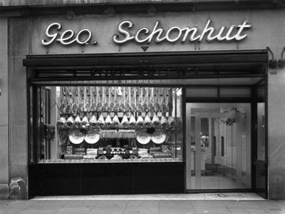 Window of George Schonhuts Butchers Shop, Barnsley, South Yorkshire, 1955 by Michael Walters
