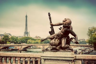 Artistic Statue on Pont Alexandre III Bridge in Paris, France. Seine River and Eiffel Tower. Vintag by Michal Bednarek
