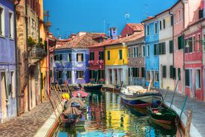 Colorful Houses and Canal on Burano Island, near Venice, Italy. Sunny Day. by Michal Bednarek