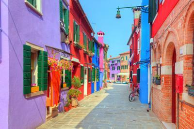 Colorful Houses on Burano Island, near Venice, Italy. Charming Street. Sunny Day. by Michal Bednarek