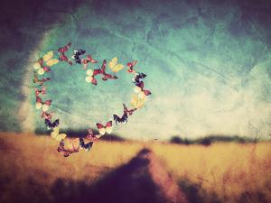 Heart Shape Made of Colorful Butterflies on Vintage Field Background. Love, Hope Concept. by Michal Bednarek