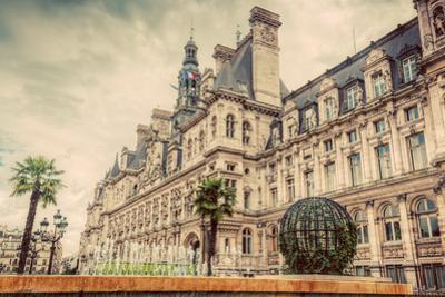 Hotel De Ville in Paris, France. City Hall Building, a Popular Landmark. Vintage, Retro by Michal Bednarek