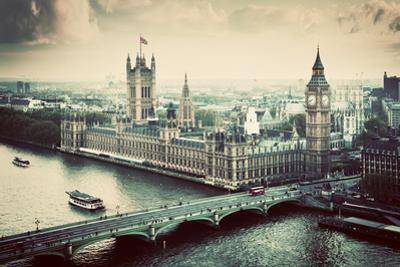 London, the Uk. Big Ben, the Palace of Westminster in Vintage, Retro Style. the Icon of England. Vi by Michal Bednarek