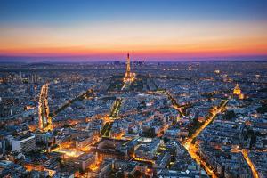 Paris, France at Sunset. Aerial View on the Eiffel Tower, Arc De Triomphe, Les Invalides Etc. by Michal Bednarek