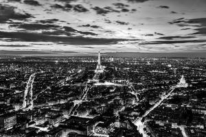 Paris, France Skyline, Panorama at Sunset, Young Night. View on Eiffel Tower in Black and White by Michal Bednarek