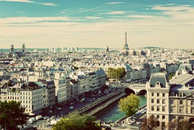 Paris Panorama, France. View on Eiffel Tower and Seine River from Notre Dame Cathedral. Vintage, Re by Michal Bednarek