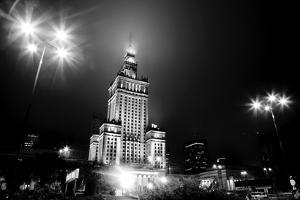 Warsaw, Poland Downtown Skyline At Night In Black And White by Michal Bednarek