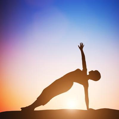 Woman in Side Balance Yoga Meditating at Sunset. Zen by Michal Bednarek