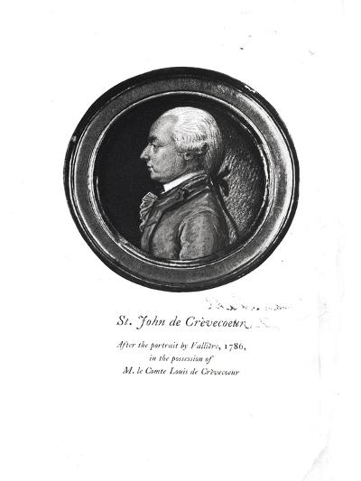 """Michel-Guillaume-Jean de Crevecoeur Frontispiece of His """"Sketches of 18th Century America""""- Valliere-Giclee Print"""