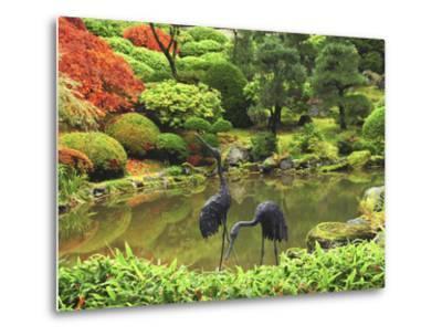 Heron Sculptures in the Portland Japanese Garden, Portland Japanese Garden, Portland, Oregon, USA