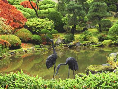 Heron Sculptures in the Portland Japanese Garden, Portland Japanese Garden, Portland, Oregon, USA