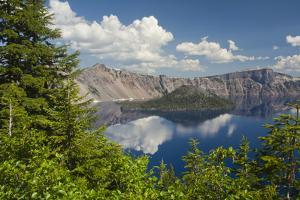 Morning, Crater Lake and Wizard Island, Crater Lake National Park, Oregon, USA by Michel Hersen