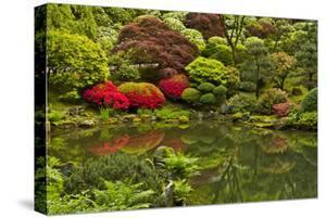Pond, Strolling Garden, Portland Japanese Garden, Oregon, Usa by Michel Hersen