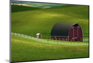 Red Barn and Manicured Fields in Moscow, Latah County, Idaho, USA by Michel Hersen