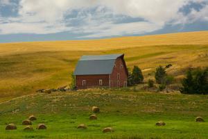 Red Barn, Hay Bales, Albion, Palouse Area, Washington, USA by Michel Hersen