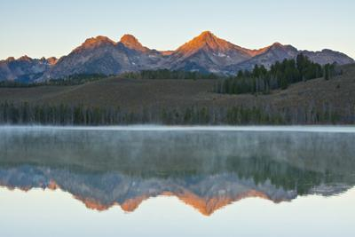 Sunrise at Sawtooth Mts, Little Redfish Lake, Stanley, Idaho by Michel Hersen