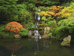 Waterfall in Autumn at the Portland Japanese Garden, Portland, Oregon, USA by Michel Hersen