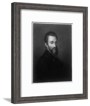 Michelangelo Buonarotti di Lodovico Simoni Italian Sculptor Painter Architect and Poet-R. Woodman-Framed Giclee Print
