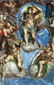 """Christ, Detail from """"The Last Judgement,"""" in the Sistine Chapel, 16th Century by Michelangelo Buonarroti"""
