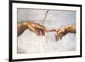 Creation of Adam Detail Hands by Michelangelo Buonarroti