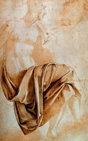 Recto Study of Drapery by Michelangelo Buonarroti