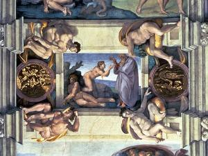 Sistine Chapel Ceiling: Creation of Eve, with Four Ignudi, 1510 by Michelangelo Buonarroti