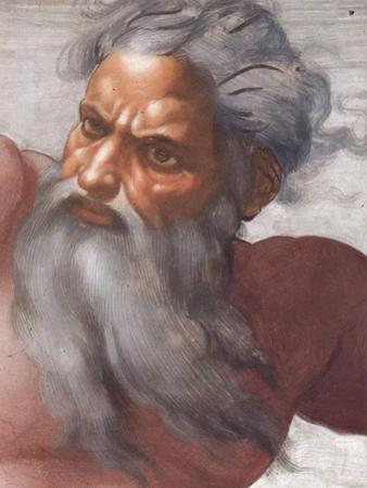 Sistine Chapel Ceiling: Creation of the Sun and Moon, 1508-12, Detail of the Face of God