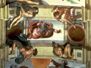 Sistine Chapel Ceiling: God Separating the Land from the Sea, with Four Ignudi, 1510 by Michelangelo Buonarroti