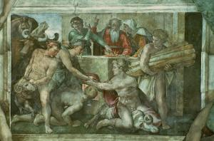 Sistine Chapel Ceiling: Noah after the Flood (Pre Restoration) by Michelangelo Buonarroti