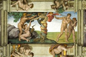 Sistine Chapel Ceiling: The Fall of Man & Expulsion from the Garden of Eden, with 4 Ignudi, 1510 by Michelangelo Buonarroti