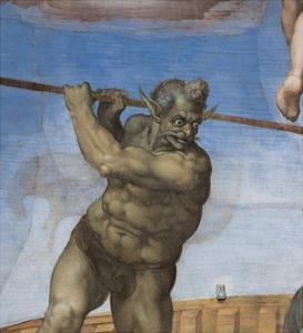 Sistine Chapel, the Last Judgment. Charon, Ferrier of the Damned by Michelangelo Buonarroti
