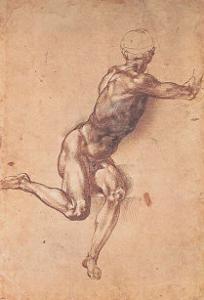Study of a Seated Male Figure by Michelangelo Buonarroti