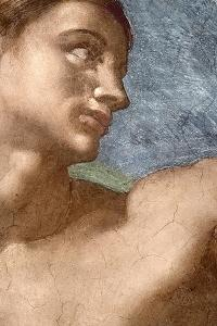 The Creation of Adam, Detail of Adam's Head, 1508-12 (Detail) by Michelangelo Buonarroti