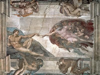 The Creation of Adam from the Sistine Chapel, 1508-12 by Michelangelo Buonarroti
