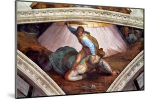 The Sistine Chapel; Ceiling Frescos after Restoration: David and Goliath by Michelangelo Buonarroti