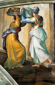 The Sistine Chapel; Ceiling Frescos after Restoration, Judith and Holofernes by Michelangelo Buonarroti