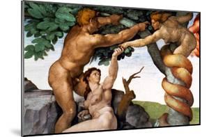 The Sistine Chapel; Ceiling Frescos after Restoration, Original Sin by Michelangelo Buonarroti