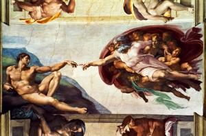 The Sistine Chapel; Ceiling Frescos after Restoration, the Creation of Adam by Michelangelo Buonarroti