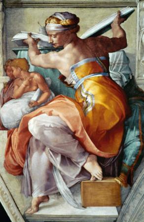 The Sistine Chapel; Ceiling Frescos after Restoration, the Libyan Sibyl