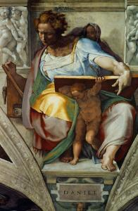 The Sistine Chapel; Ceiling Frescos after Restoration, the Prophet Daniel by Michelangelo Buonarroti