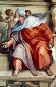 The Sistine Chapel; Ceiling Frescos after Restoration, the Prophet Ezekiel by Michelangelo Buonarroti