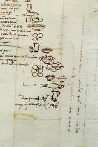 Three Different Lists of Foods Described with Ideograms, 1518 by Michelangelo Buonarroti
